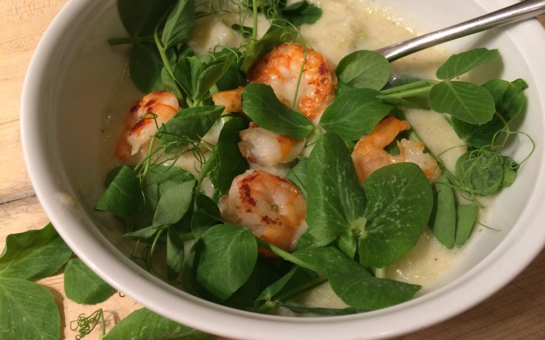 Spring Chowder with Sautéed Shrimp and Pea Shoots